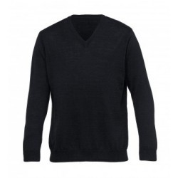 Merino Detailed Vee Pullover Black - Mens - EGMDP