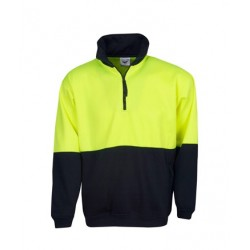 Hi Vis Half Zip Poly Cotton Fleecy Jumper - F85