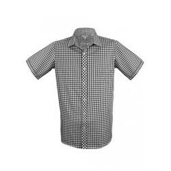 Mens Brighton Short Sleeve Shirt Black/White - 1909S