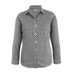 Ladies Brighton Long Sleeve Shirt Black/White - 2909L
