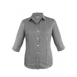 Ladies Brighton 3/4 Sleeve Shirt Black/White - 2909T