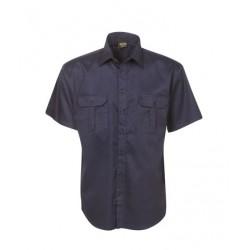 Cotton Drill Work Shirt, Short Sleeve - C04