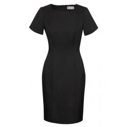 Ladies Short Sleeve Shift Dress Black - 30112