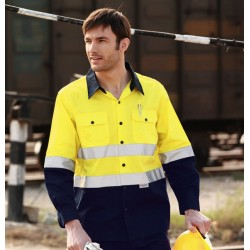 HI-VIS L/S COTTON DRILL SHIRT WITH REFLECTIVE TAPE - SS1232