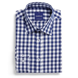 Royal Oxford 1cm Gingham L/S Navy - 1710L