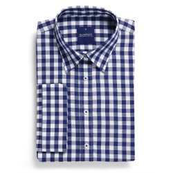 Ladies Royal Oxford 1cm Gingham 3/4 Sleeve Navy - 1710WL