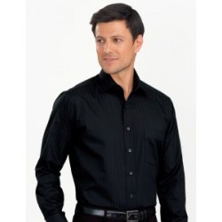 Mens Long Sleeve Self Stripe Black - 460
