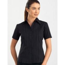 Womens Short Sleeve Fine Stripe Black - 107