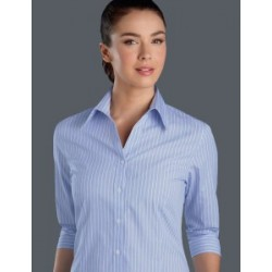 Womes 3/4 Sleeve Pinfeather Stripe Blue - 118