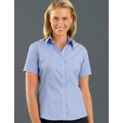 Womens Short Sleeve Pinfeather Stripe Blue - 119
