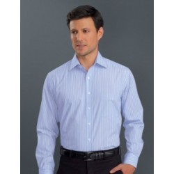 Mens Long Sleeve Pinfeather Stripe Blue - 218