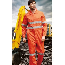 HI-VIS COTTON DRILL OVERALLS WITH X PATTERN REFLECTIVE TAPE - WO
