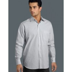 Mens Long Sleeve Mini Check Grey - 424