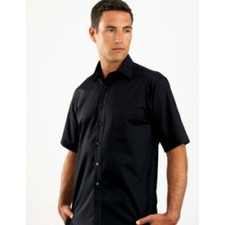 Mens Short Sleeve Self-Stripe Black - 461