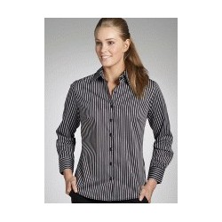 BOLD STRIPE LADIES SEMI FIT LONG SLEEVE SHIRT - 6070L11