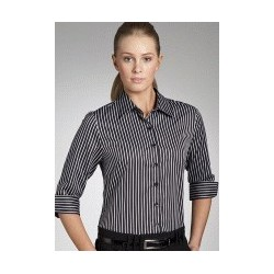 BOLD STRIPE LADIES SEMI FIT 3/4 SLEEVE SHIRT - 6070Q11