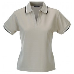 Ladies Standard Plus S/S Polo B/N/W - 1110i