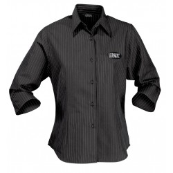 Ladies Pinpoint 3/4 Sleeve Shirt B/W - 2125