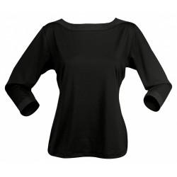 Ladies Argent 3/4 Sleeve Top Black - 1259Q