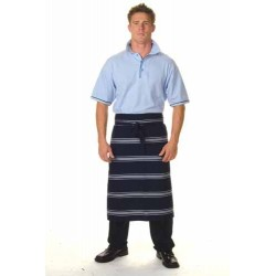 210gsm Polyester Cotton Blue & White Stripe 3/4 Apron?No Pocket