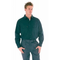 190gsm HiVis Cotton Drill Work Shirt, L/S - 3202