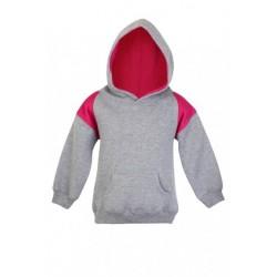 Babies cotton/poly fleece hoodie with shoulder contrast- F335PP