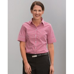 Ladies Gingham Check Short Sleeve Shirt - M8300S